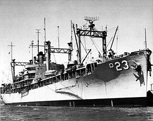 USS Arcadia (AD-23) - USS Arcadia (AD-23) in 1958.