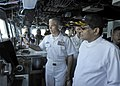 USS Blue Ridge hosts the Sri Lankan President in the pilot house. (26048374911).jpg