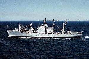 USS Durham (LKA-114) - Image: USS Durham (LKA 114) underway 1989
