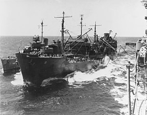 USS Guadalupe (AO-32) refuels USS Maury (DD-401) and USS Lexington (CV-16) in November 1943.jpg