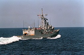 USS Nicholas (FFG 47) at sea during Operation Desert Shield 1990 DN-SC-92-06592.jpg