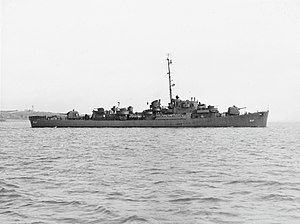 USS Rizzi (DE-537) off Boston in June 1945