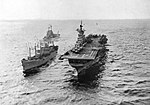 USS Valley Forge (CV-45) being replenished off Korea, circa in 1951.jpg