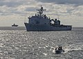 USS Whidbey Island conduct small boat operations with the amphibious assault ship USS Wasp. (26340416211).jpg