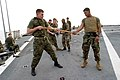 US Navy 040220-M-4806Y-022 Lance Cpl. Hunter Foskey, left, and Cpl. Jose Davila, both assigned to 2-6 Echo Company II Marine Expeditionary Force (MEF) demonstrate martial art techniques for Marines.jpg
