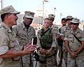 US Navy 040821-N-0401E-036 Master Chief Petty Officer of the Navy (MCPON) Terry Scott and Sgt. Maj. of the Marine Corps John Estrada respond to questions from Sailors aboard Al Basrah Oil Terminal (ABOT).jpg