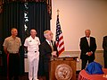 US Navy 040922-N-3399W-001 Secretary of the Navy (SECNAV) Gordon R. England is joined by Chief of Naval Operations Adm. Vern Clark and Commandant of the Marine Corps Gen. Michael Hagee in honoring Congressman C.W. Bill Young.jpg