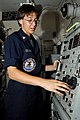 US Navy 070517-N-3038W-040 During pre-fire inspection of the Close-In Weapons System (CIWS), Fire Controlman 3rd Class Erin Devries enters computer codes on the local control panel aboard Nimitz-class aircraft carrier USS John.jpg