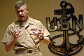 US Navy 090114-N-9818V-174 Master Chief Petty Officer of the Navy (MCPON) Rick D. West speaks with the Senior Enlisted Academy (SEA) class 143 at Naval Station Newport.jpg