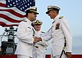 US Navy 100910-N-7478G-824 Vice Adm. John M. Bird, left, congratulates Vice Adm. Scott R. Van Buskirk, during the U.S. 7th Fleet change of command.jpg