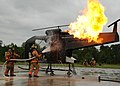 US Navy 101001-N-3737T-159 Navy first responders extinguish a simulated helicopter fire during an emergency services exercise at Naval Weapons Stat.jpg