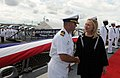 US Navy 111116-N-IO627-065 Secretary of State Hillary Clinton is greeted by Cmdr. Brian T. Mutty, commanding officer of the guided-missile destroye.jpg