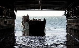 US Navy 111211-N-KS651-132 A landing craft utility approaches the well deck of the amphibious dock landing ship USS Pearl Harbor (LSD 52).jpg