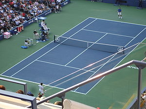 2011 US Open – Men's Singles - Detail from final (Novak Djokovic vs. Rafael Nadal)