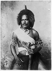 Unidentified Fijian man wearing (traditional?) clothing, photographed by Thomas Andrew, circa 1890s.jpg