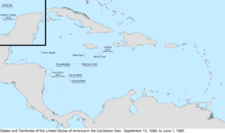 Map of the United States in the Caribbean Sea from September 13, 1880, to June 1, 1882