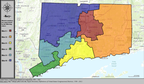 United States Congressional Districts in Connecticut, 1993 – 2002.tif
