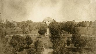 University of Alabama Quad - View of the Quad in 1859. The Rotunda can be seen at center, with the halls visible in the background.  All of these buildings were destroyed on April 4, 1865.