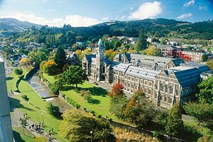 University of Otago - Aerial view of the Dunedin campus. The Water of Leith runs through in the centre.