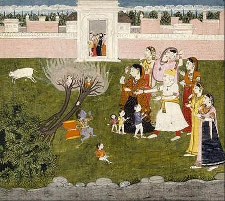 Krishna frees the brothers from the curse.