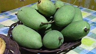 Chok Anan - Chok Anan mangoes waiting to ripen on a table.