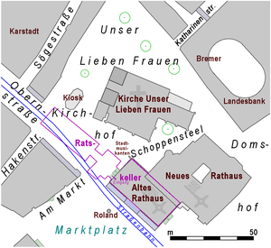 Bremen Ratskeller - Extension of the Ratskeller below the townhall and the neighbouring square west of it
