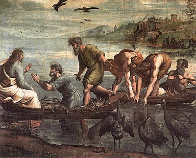 Calling of the disciples and the miraculous catch of fish, by Raphael, 1515 V&A - Raphael, The Miraculous Draught of Fishes (1515).jpg