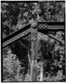 VIEW LOOKING WEST OF SOUTH PONY TRUSS; PIN CONNECTION R2 AT JUNCTION OF INCLINED END POST, TOP CHORD AND HIP VERTICAL - Boyleston Bridge, Spanning Skunk River, Lowell, Henry HAER IOWA,44-JACTOS,1-21.tif