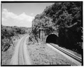 VIEW OF SOUTH PORTAL. - Baltimore and Ohio Railroad, Point of Rocks Tunnel, Point of Rocks, Frederick County, MD HAER MD,11-PORO.V,1-1.tif