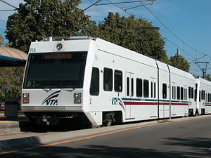 Santa Clara Valley Transportation Authority - VTA low-floor light rail vehicle at Tasman Station on the Santa Teresa line