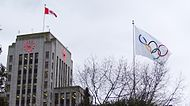 Vancouver City Hall with the 2010 Winter Olympics Flag