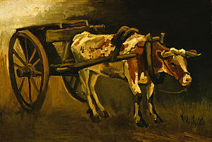 Cart with Red and White Ox - Cart with Red and White Ox