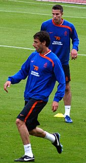 Van Persie and Ruud van Nistelrooy in training prior to Euro 2008.