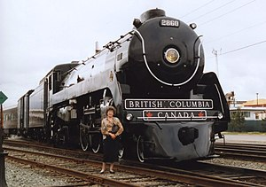 Royal Hudson - Royal Hudson 4-6-4 No. 2860 at North Vancouver station before departure to Squamish BC in 1996