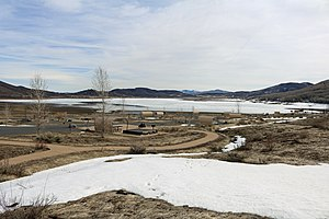 Vega State Park - The reservoir in early spring, still partially frozen.