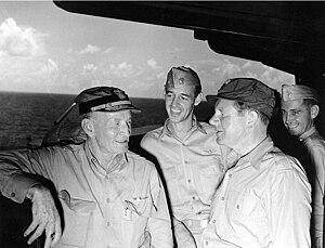 John L. Sullivan (United States Navy) - John L. Sullivan (right) and John S. McCain, Sr. aboard USS Shangri-La (CV-38)