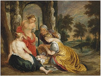 Cecrops I - The Daughters of Cecrops discovering the Infant Erichthonius (by Victor Wolfvoet).