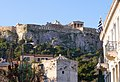 View of the Acropolis and the Horologion of Andronikos Kyrrhestes from the upper part of Aiolou Street.jpg