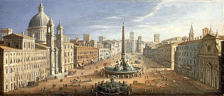 A View of the Piazza Navona, Rome, Hendrik Frans van Lint, circa 1730 View of the Piazza Navona, Rome LACMA 49.17.3.jpg
