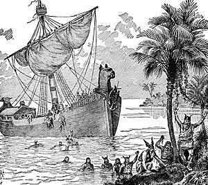 English: An illustration of Vikings on a boat.