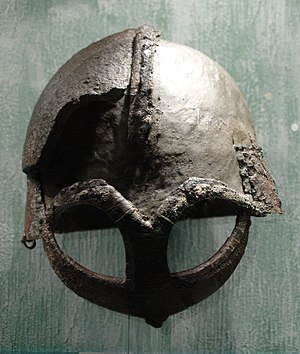 Viking helmet from Gjermundbufunnet, now at Ku...