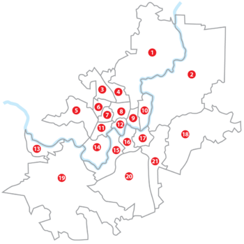 Map of Vilnius elderates. Numbers on the map correspond with numbers in the list