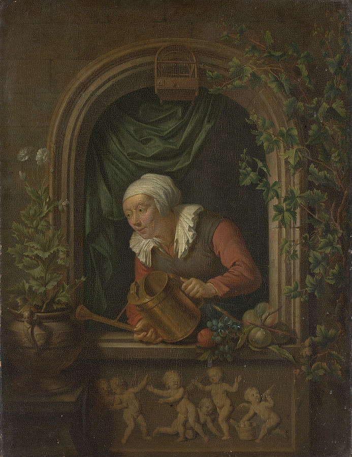 Woman Watering a Plant