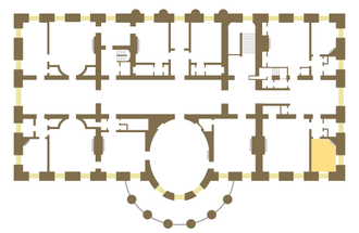 Lincoln Sitting Room - Floor plan of the White House second floor showing location of the Lincoln Sitting Room.
