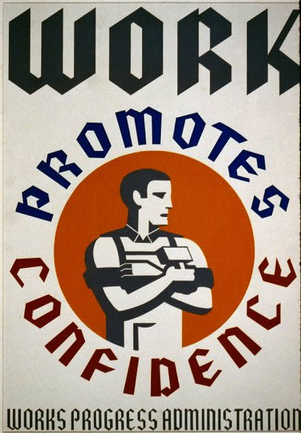 WPA poster promoting the benefits of employment WPA Art Poster, Work Promotes Confidence.jpeg