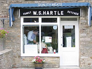 English: W S Hartle butchers. A traditional vi...