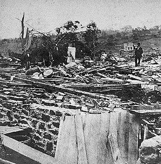 1878 Wallingford tornado - Picture of a destroyed house in Wallingford