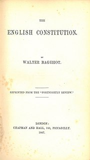 <i>The English Constitution</i> Book by Walter Bagehot on the constitution of the United Kingdom first published in 1867