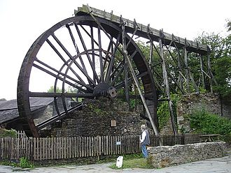 Mining in Cornwall and Devon - Waterwheel at Morwellham Quay, once used to crush manganese ore