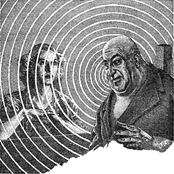 A bald man sits in a chair, with a blonde woman staring into space on the other side of a desk. Concentric circles emanate from the bald man's head.